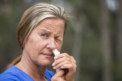 woman holding flu tester