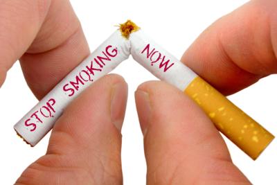 Stop smoking now, on white background